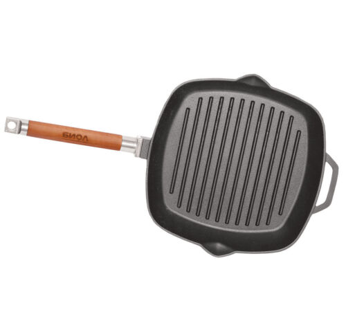 """Cast Iron Skillet 9.4/"""" Square Grill Pan w// Removable Handle Heavy Durable Eco"""