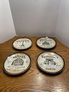 Pier-One-Imports-Plate-Set-of-4-Paris-Hotel-Boutique-Fleuriste-Restaurant