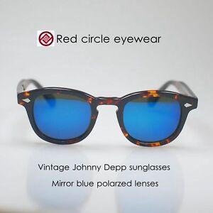 25df0a37578 Image is loading Retro-Vintage-Johnny-Depp-sunglasses-tortoise-mirror-blue-