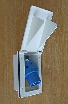 MAINS 230V 16A FLUSH INLET SOCKET WHITE CARAVAN VW CAMPER HOOK UP ROSI W4 20013