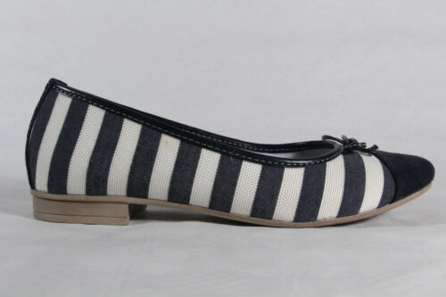 Femmes Ballerine Pantoufles Chaussures basses escarpins bleu//blanc nouveau!!!
