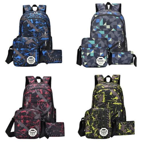 3Pcs//Set Large Camouflage Backpack Rucksack Girls Boys Travel Bag School Bag TIK