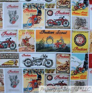 Logos Gray Riley Blake  Indian  Motorcycle Cotton Fabric