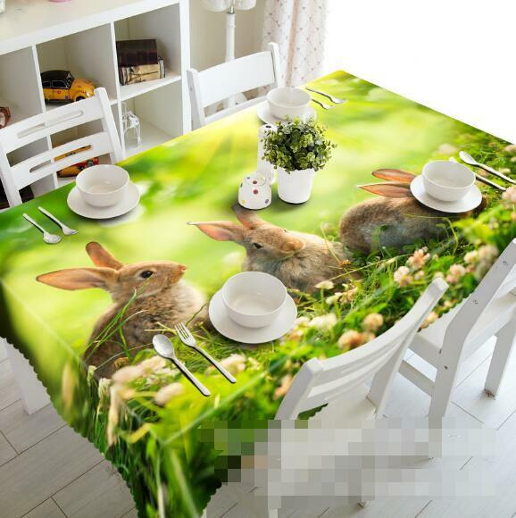 3D Lawn Rabbits 3 Tablecloth Table Cover Cloth Birthday Party Event AJ WALLPAPER