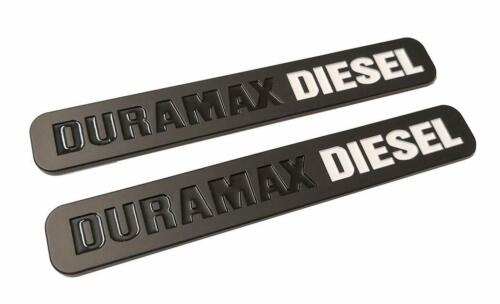 2 Pack New White//Black Duramax Diesel Emblem Badges Silverado Sierra Door Hood