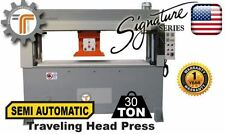 NEW!! CJRTec 30 Ton Travel Head Clicker Press Semi Automatic Hydraulic Cutting