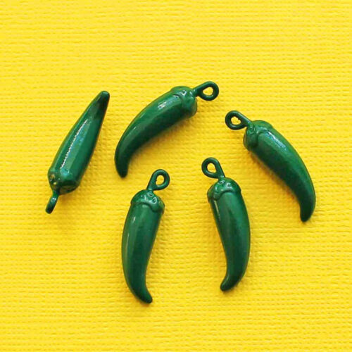 4 Chili Pepper Charms Enamel Fun and Colorful E257