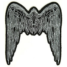 Embroidered Small Angel Wings Light Grey Iron on Sew on Biker Patch Badge