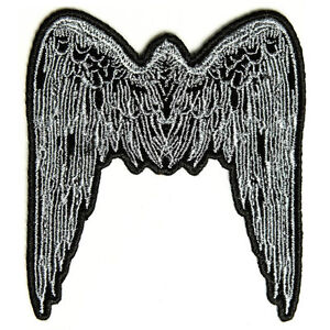 Embroidered Small Angel Wings Blue Sew or Iron on Patch Biker Patch