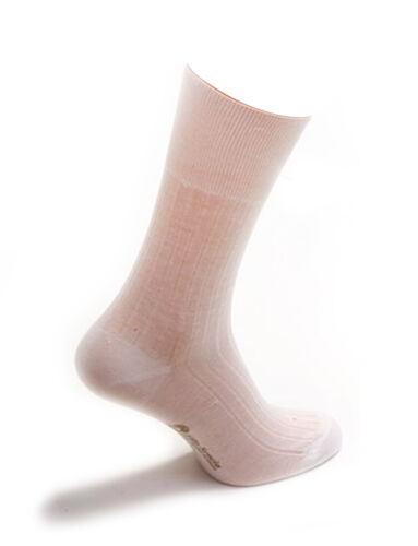 6 Pair Men's White Mid-Calf Diabetic Socks 100/% Cotton Striped Design Gift Box