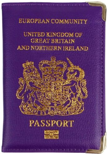 Passport Holder Protector Cover Wallet PU Leather United Kingdom European HQ