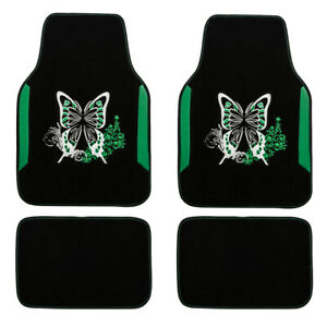 Car-Floor-Mats-Universal-Green-Butterfly-Handmade-Embroidery-Durable-for-SUV-VAN