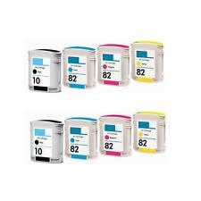 8 PACK Compatible ink cartridges HP 82 C4911A C4912A C4913A Color Ink C4844A
