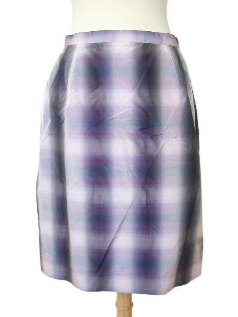 600+ NWT Kiton Women's Purple Plaid Silk Skirt 42 US 6 (ID KIWOSKRT27)