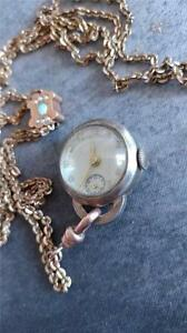 VINTAGE ESSEX SLIDE CHAIN NECKLACE WATCH RUNNING AND KEEPING TIME