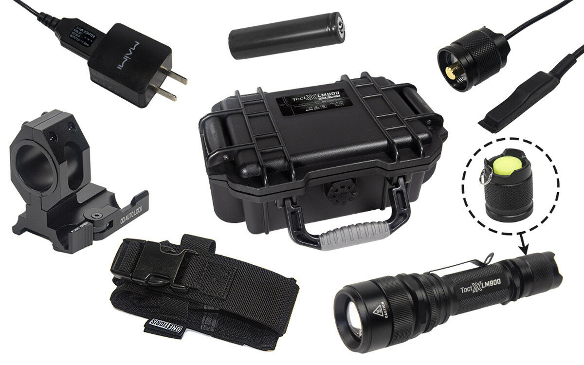 LM900 ELITE AR-SPEC Kit w HOLSTER Military-Grade 900 Lumens Tactical Flashlight