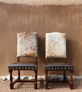 genuine cowhide chair distressed wood brass nails 350 6 seat rh ebay com cowhide chairs with nailhead trim cowhide chairs for sale australia