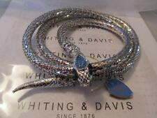 Vintage Whiting & Davis Silver Mesh Snake Sky Blue Stones Belt/Necklace Signed