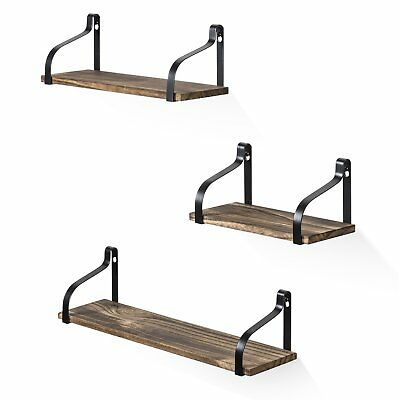 rustic wood 3 floating shelves storage wall mounted for