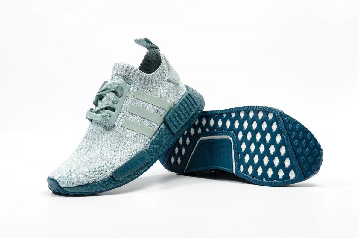Womens Adidas NMD R1 W PK Tactile Green Sea Crystal Blue Primeknit CG3601 Sz 7.5