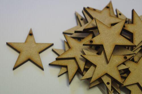 5cm 4cm Laser cut wooden shape MDF Star one hole 2cm 3cm
