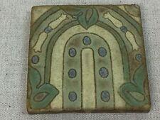 Antique Tile Ceramic Vintage Old Art Nouveau Architectural Reclaim