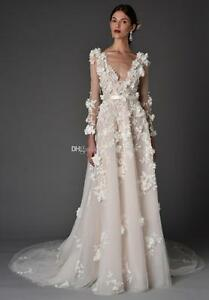 3D Applique Summer Wedding Dress 2017 Long Sleeve Train Beach Garden ...