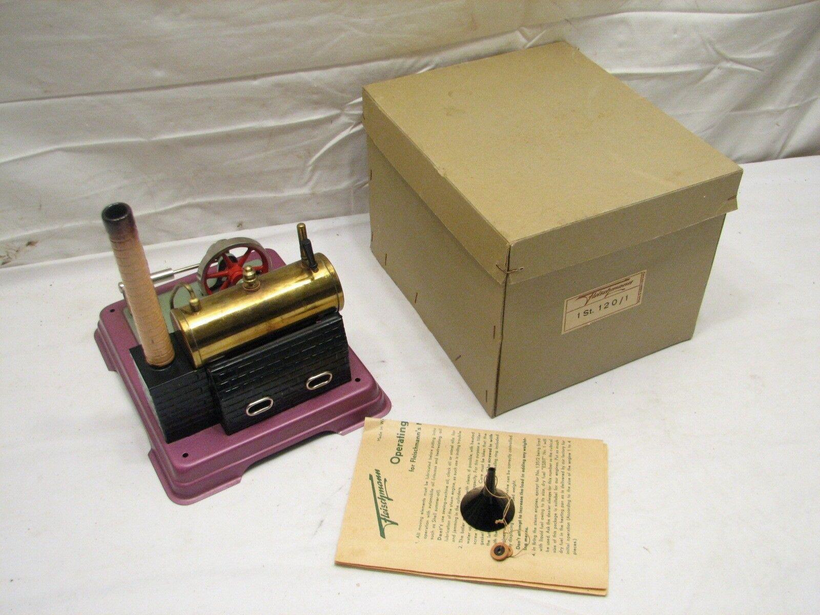 Fleischmann Burning Steam Model Engine no. 120 W. Germany Toy w Box Minty