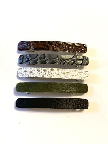 10 Piece Set Large Leather French Barrettes Boho Hair Clips Unique Accessories
