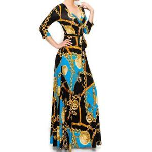Janette-Fashion-Blue-Gold-Chain-Buckle-Tassel-Faux-Wrap-Maxi-Dress-S-M-L-XL