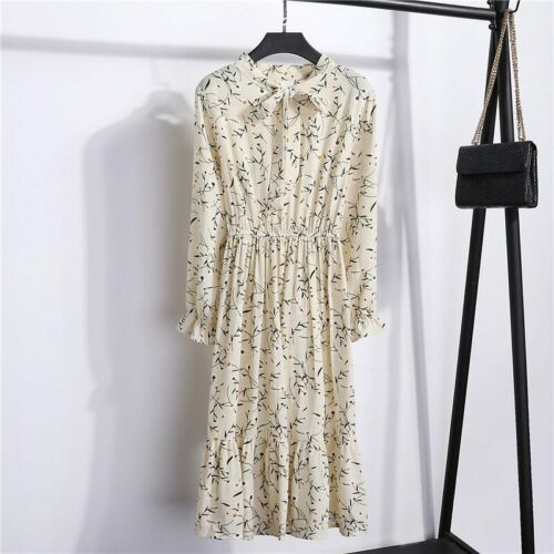 Chiffon Women Floral Printed Bow Office Long Sleeve A-Line Mid-Calf Dress
