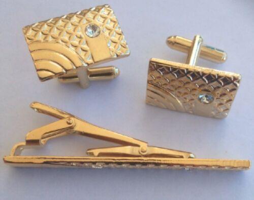 GOLD PAIR CUFFLINKS /& MATCHING TIE BAR CLIP SET DESIGNER WEDDING SHIRT CUFFLINK