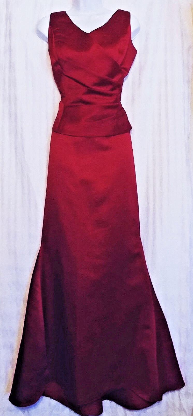 EDEN BRIDALS Woherren Dress rot Burgundy Satin Mermaid 2-Pc Skirt Top PROM Größe 6