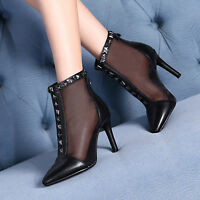 Ladies High Heels Pointy Toe Mesh Rivet Studs Back Zipper Women Ankle Boot Shoes