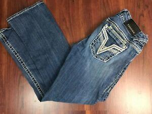 Vigoss-Womens-The-Dublin-Bootcut-Jeans-Thick-Stitch-Light-Wash-Size-30