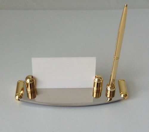 NIB Desktop Business Card And Pen Holder With Pen Two Tone Gold//Silver NEW