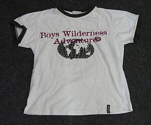 Jungen-X-Mail-Kurzarm-T-Shirt-Weiss-Grau-Rot-Gold-Aufdruck-Globus-Gr-128