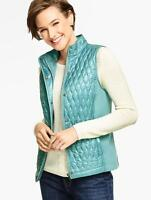Talbots Quilted & Ribbed Vest Coat In Blue Fog Size M 6-8