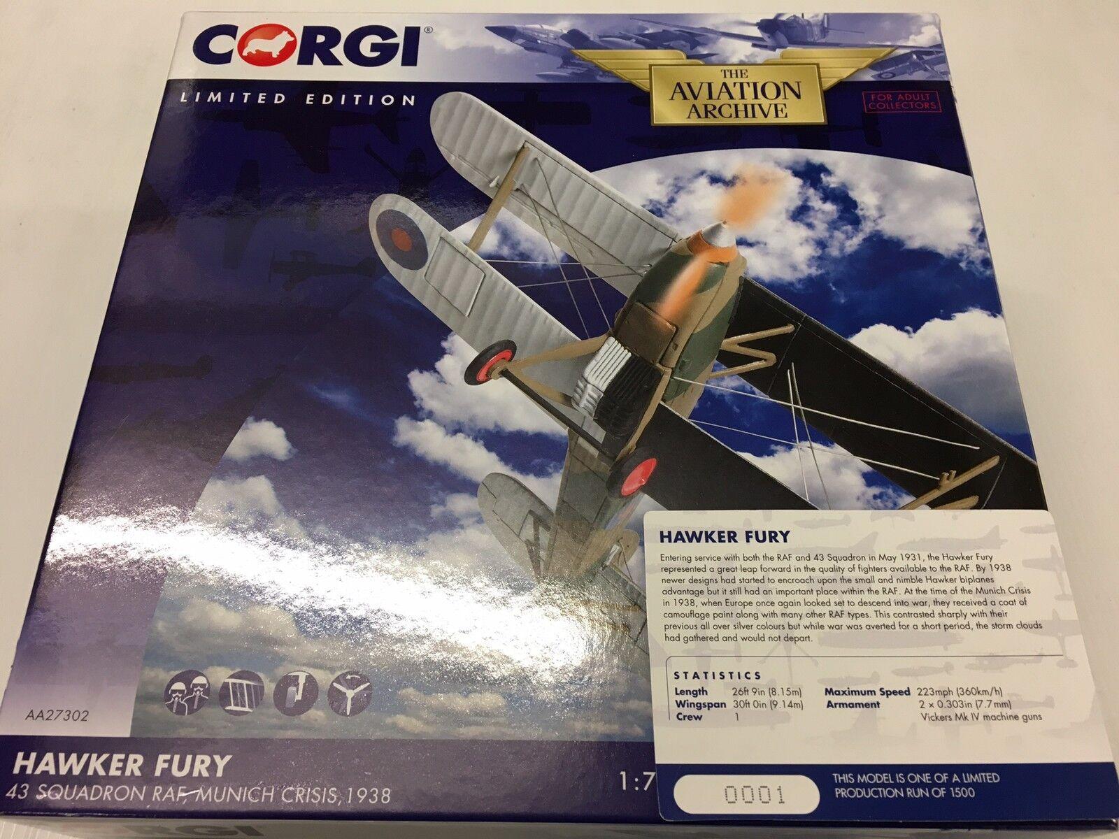 CORGI AA27302 HAWKER FURY 43 Squadron RAF crise de Munich LTD ED. No 0001 de 1500
