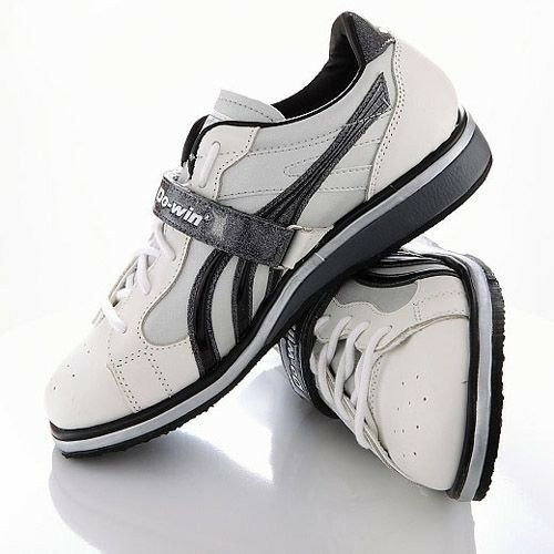 Do-ganar el levantamiento de pesas Zapatos Reino Unido 5 blancoooooo Negro Encaje Velcro Fijar entresuela de madera