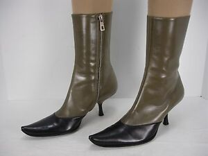 NEW-BALLY-TULLY-2-TONE-SIDE-ZIP-POINTED-TOE-ANKLE-BOOTS-WOMEN-039-S-36-5-EU-6-USA