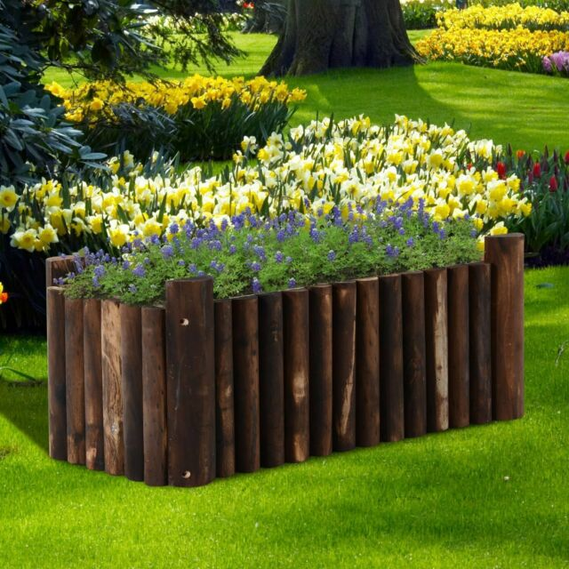 Outsunny Raised Flower Bed Wooden Rectangualr Planter Container Box 4 Feet