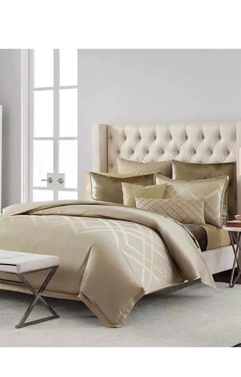 Hudson Park Luxe Piazza FULL   QUEEN Embroidered Duvet Cover Mocha