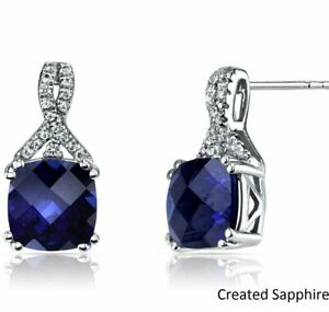 2-CT-Blue-Sapphire-Brilliant-Round-Stud-Earring-18K-White-Gold-Plated-ITALY