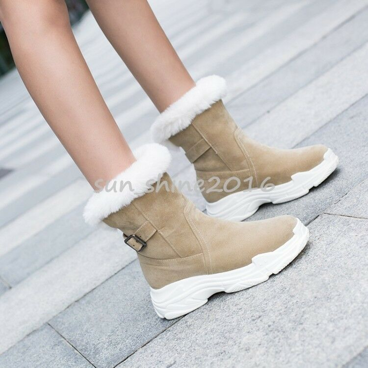 Luxury faux fur Trim Snow winter ankle boots Faux Suede warm pull on flat shoes
