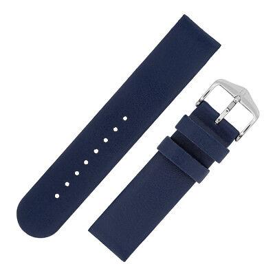 Ausdrucksvoll Hirsch Scandic Modern Flat Calfskin Leather Watch Strap With Buckle In Blue