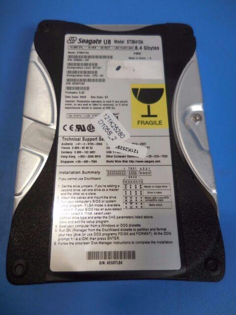 """Seagate U8 ST38410A 9P5002-401 8.4GB 5400RPM IDE Hard Drive 3.5"""""""