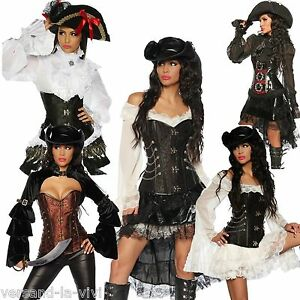 piratenkost m piratin corsage steampunk s xxl piraten kost m kleid ebay. Black Bedroom Furniture Sets. Home Design Ideas