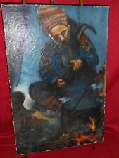 Oil Painting On Canvas - Gypsy Man Sitting By Fire - Schutz