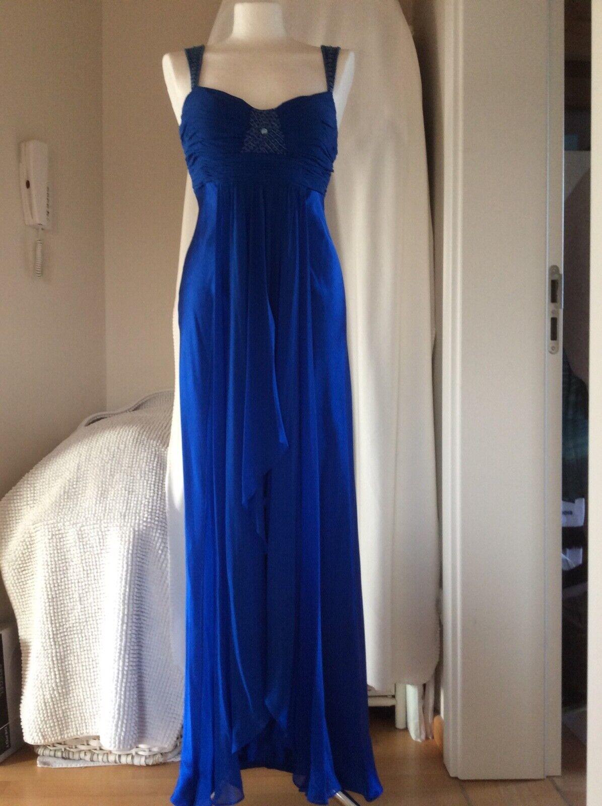 Abendkleid blau 34 36, Seide,verstellb.Träger,Abiball,Hochzeit,Party,1kl.Fehler